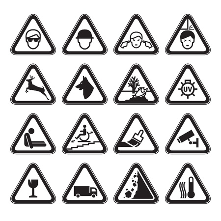 mind set: Warning Safety Signs Set black