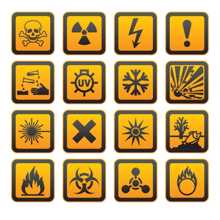 hazardous material: Hazard symbols orange vectors sign
