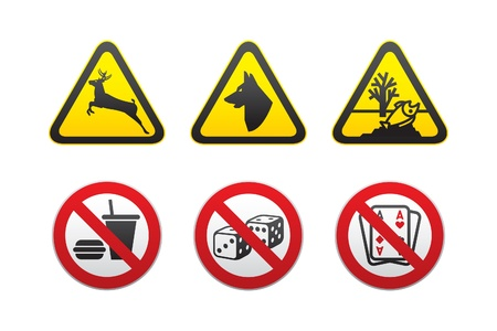 Warning Hazard and Prohibited symbols set vector Stock Vector - 9444126