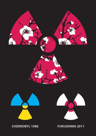 isotope: Sakura in the radiation symbol Illustration