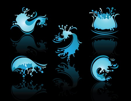 Splashing Waves and Waterwith reflection Vector