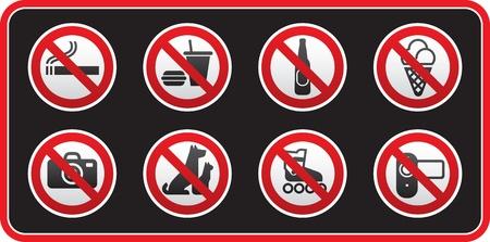 prohibido: Adhesivo de signos prohibido Vectores