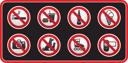 Prohibited Signs sticker Vector