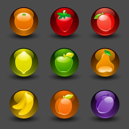 Buttons with fruit dark background with shadow Vector