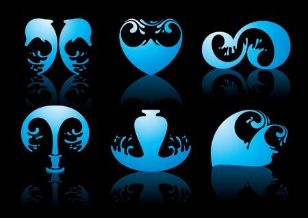 Simboli di riflessione di acqua su sfondo nero