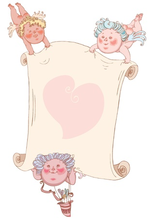 Cupids with great valentine, vector Vector