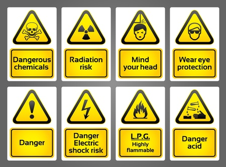 risks button: Warning Signs labes Illustration