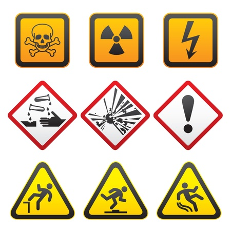 slippery warning symbol: Warning symbols - Hazard Signs-First set Illustration