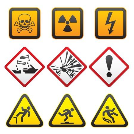ionizing radiation risk: Warning symbols - Hazard Signs-First set Illustration