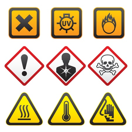 electricity danger of death: Warning symbols - Hazard Signs-Forth set Illustration