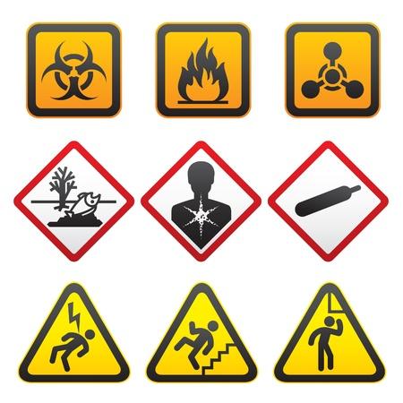 riesgo quimico: S�mbolos de advertencia - conjunto de signos de peligro-segundo