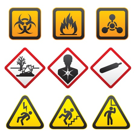 flammable warning: Warning symbols - Hazard Signs-Second set