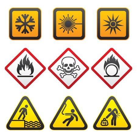 oxidising: S�mbolos de advertencia - conjunto de signos de peligro-tercera Vectores