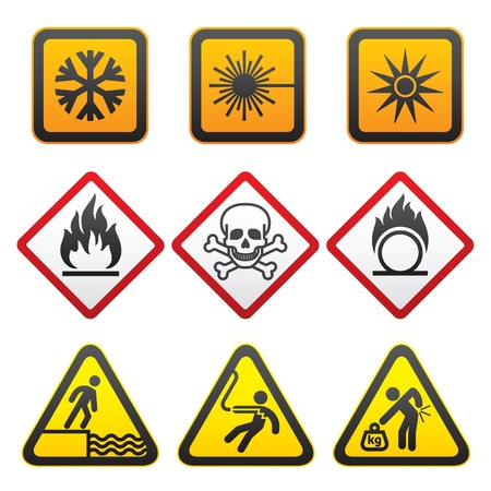 Símbolos de advertencia - conjunto de signos de peligro-tercera Foto de archivo - 9548625