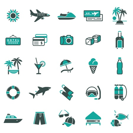 bungalows: Signs. Vacation, Travel  Illustration
