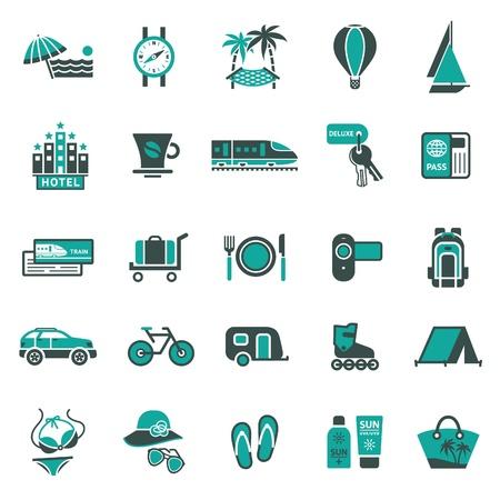 mochila viaje: Signos. Vacaciones, viajes & recreaci�n. Segundo iconos de conjuntos