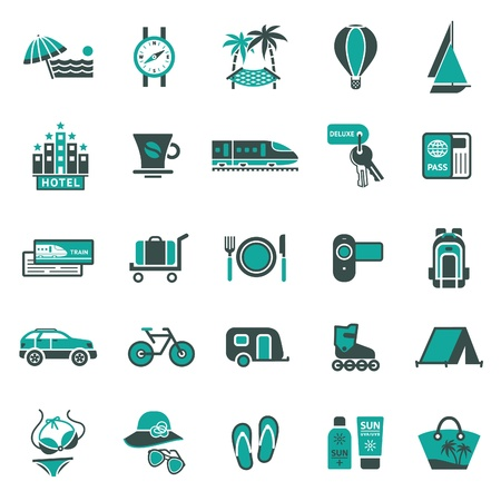 travel icons: Signs. Vacation, Travel & Recreation. Second set icons