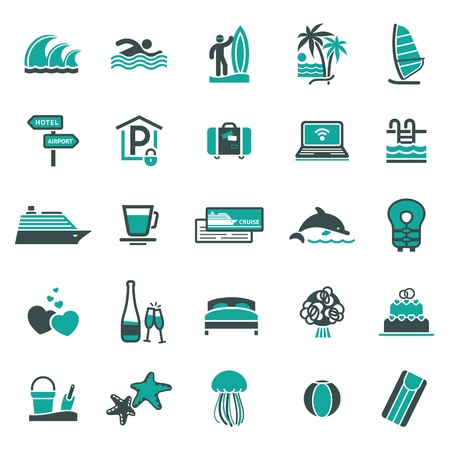 sun bed: Signs. Vacation, Travel  Illustration