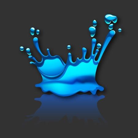 reflectie water: opspattend water met een reflectie op zwarte achtergrond. 10 EPS