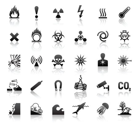 electricity danger of death: black symbols danger icons
