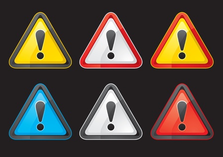Set Hazard warning attention sign color on a black background Vector