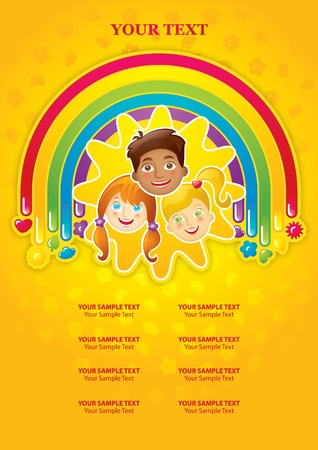 Three happy children in a rainbow and the sun