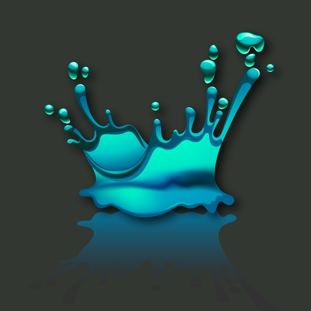 flowed: splash water with reflection on gray background