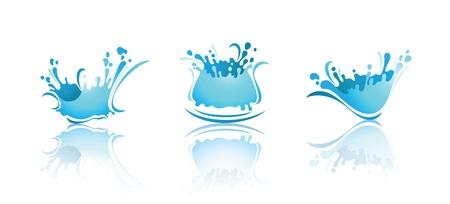 Salpicaduras de las olas y agua con reflexión. Primeras iconos de conjuntos