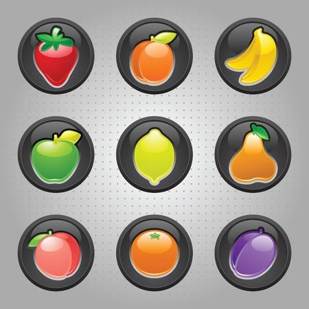 ceda: Bot�n de frutos negro, web 2.0 iconos Vectores