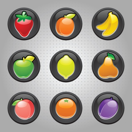 yield sign: Fruits button black, web 2.0 icons Illustration
