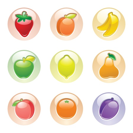 Fruits button gray, web 2.0 icons, vector Vector