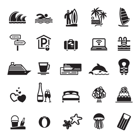 swims: Signs. Vacation, Travel & Recreation. Third set icons in black