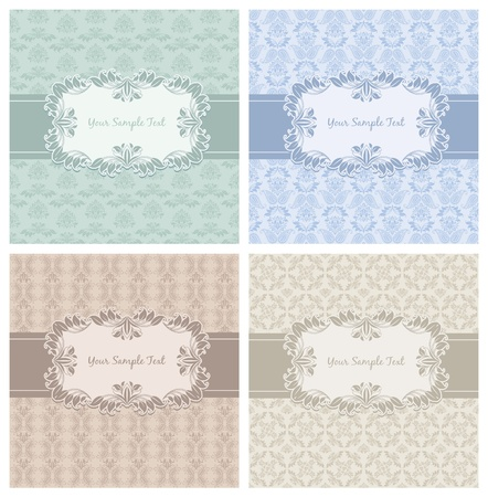 Decorative Pattern and Frame template set first Vector