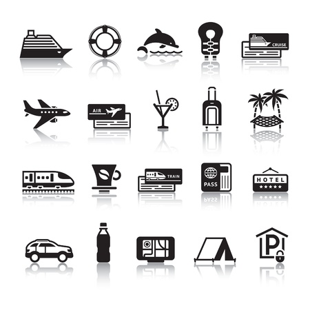 travel icons: Signs. Tourism. Travel. Sports. First set icons Illustration