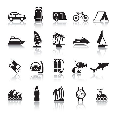 boat icon: Signs. Tourism. Travel. Sports. Fourth set. Illustration