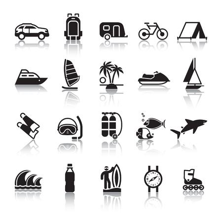 tourismus icon: Zeichen. Tourismus. Reisen. Sport. Vierten Satz. Illustration