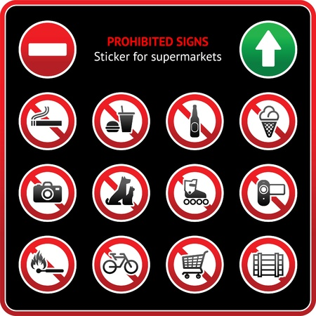 Prohibited Signs. Sticky label for supermarkets Stock Vector - 9805710