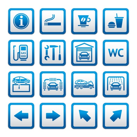 wash car: Set pictograms. Car services. Gas station. Symbols Illustration