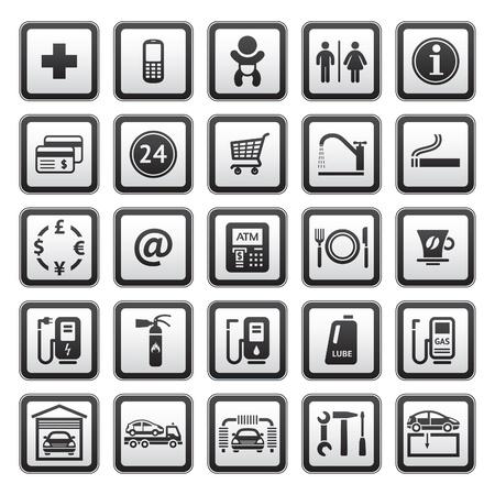station service: Signes mettre les services de v�hicules. Symboles, une station de gaz. Illustration