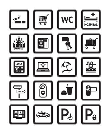 Signs set hotel services. Symbols. Black Vector