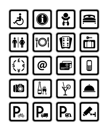 Symbols hotel services. Black. Vector