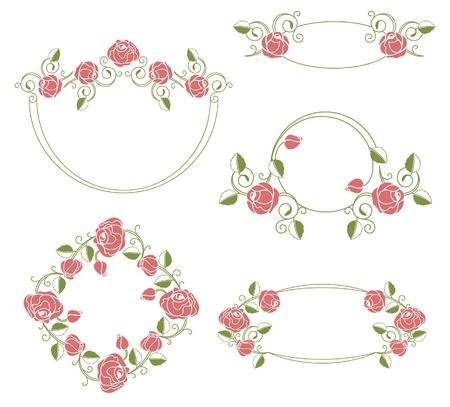 Vignetta di ornamenti floreali e cornici, colore