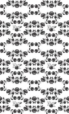 Seamless roses pattern, black Vector