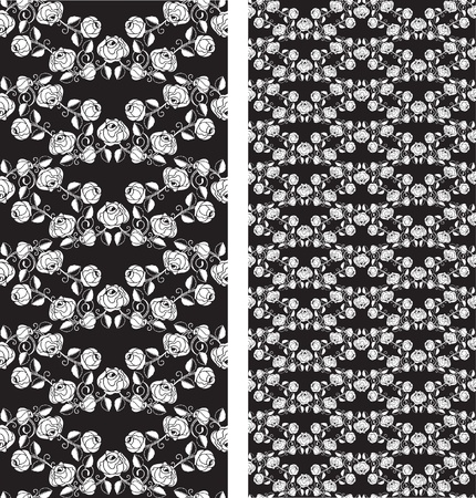 Set of seamless roses pattern, templates Vector