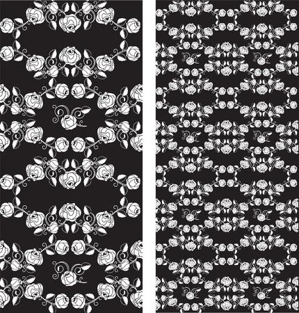 Set of seamless roses pattern, wallpaper Vector