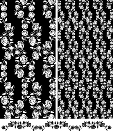 Set of seamless roses, wallpaper pattern Vector