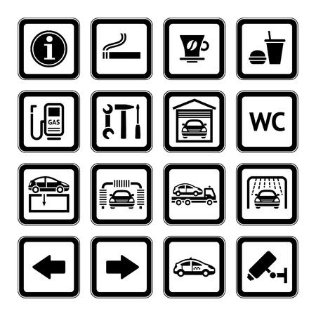 gasolinera: Conjuntos de pictogramas. Servicios de automóviles. Estación de gasolina. Negro Vectores