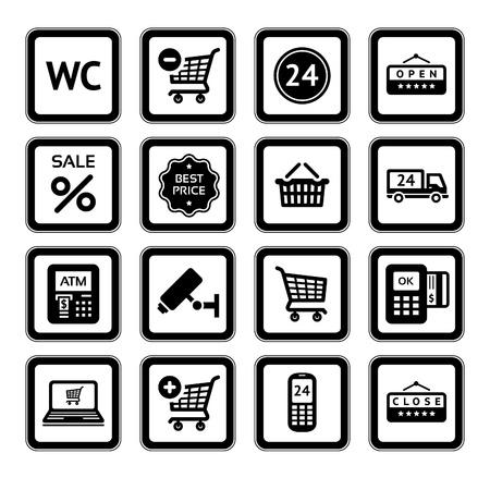 Conjunto de símbolos servicios de supermercado, iconos de compras. Ilustración de vector