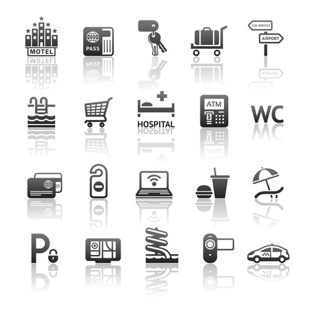 hotel pool: Icons set pictograms hotel services. Illustration
