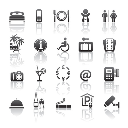hotel icons: Pictograms hotel services. Icons set